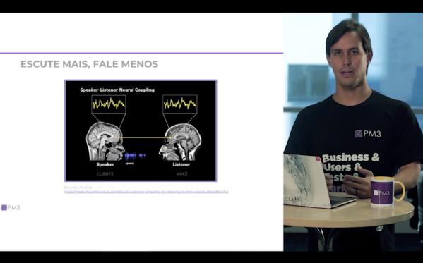 Demian Borba explicando sobre mapa de empatia no Curso de Product management da PM3